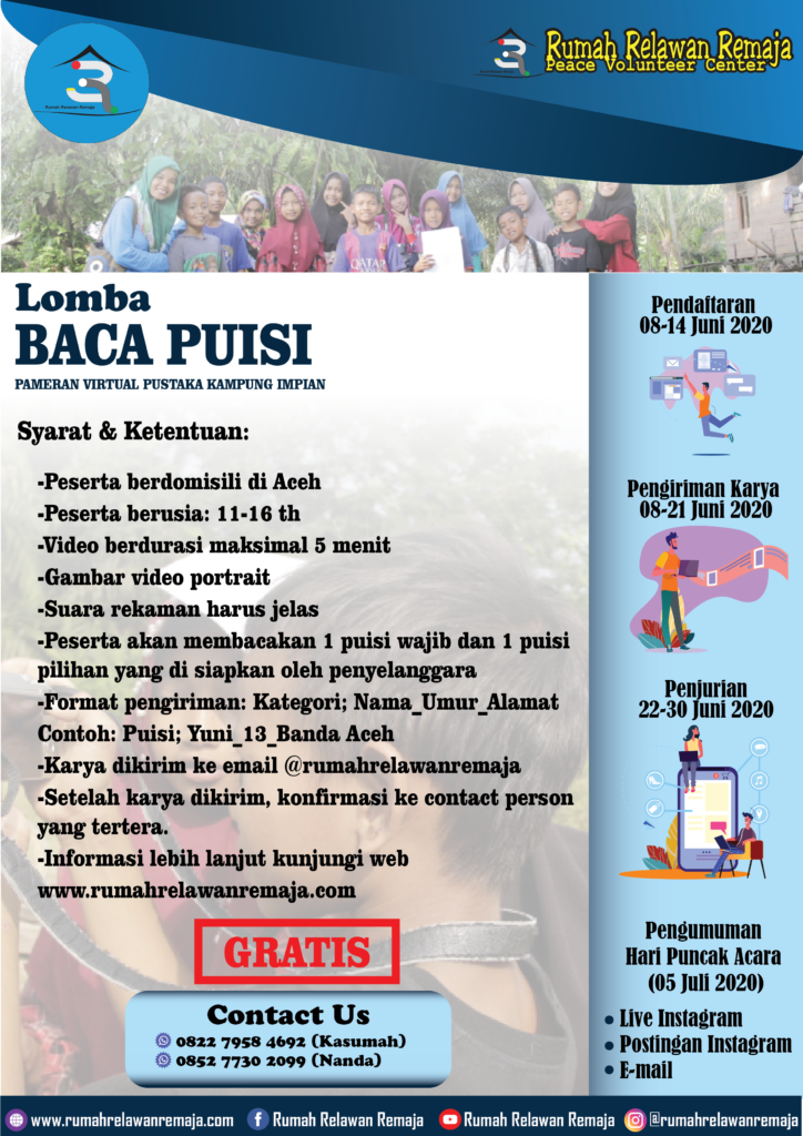 Aturan Lomba Baca Puisi : Rangkaian Lomba Pameran Virtual Pustaka Kampung Impian